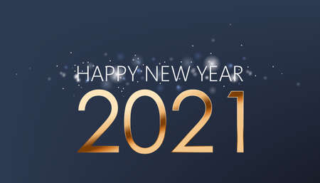 New year composition of golden numbers and silver sparkles on dark blue background. Realistic 3D mockup product placement
