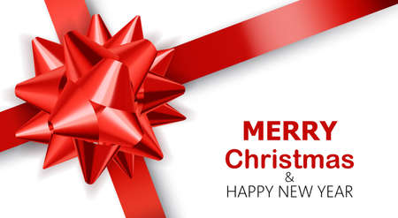 Plain white background with red ribbons. Merry Christmas and happy new year. Realistic 3D mockup product placement