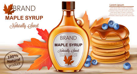 Bottle of natural sweet maple syrup with stacked pancakes with blueberries and autumnal leaves in background. Place for text. Realistic 3D mockup product placement Illustration