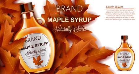 Bottle of naturally sweet maple syrup submerged in autumnal leaves. Place for text. Realistic 3D mockup product placement