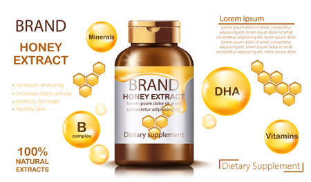 Bottle with natural honey extract for dietary supplement and health benefits. Contains minerals and vitamins. Place for text. Realistic 3D mockup product placement. Vector