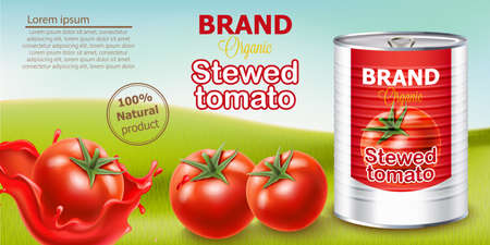 Metallic can standing on meadow surrounded by tomatoes. Place for text. Natural and organic stewed product. Realistic 3D mockup product placement Illustration