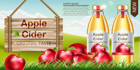 Two bottles with golden liquid inside standing on grass, with apples surrounding them and a wooden sign nearby. Place for text. Cider with real apple juice and original taste. Realistic 3D mockup product placement. Vector Illustration