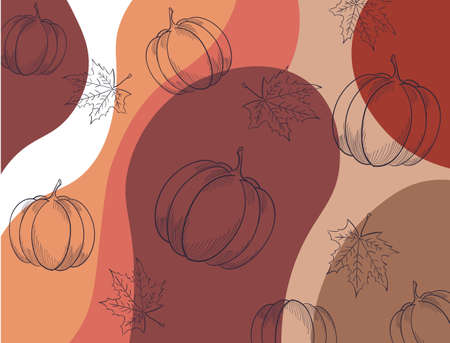 Autumnal pattern with leaves, pumpkins and abstract waves