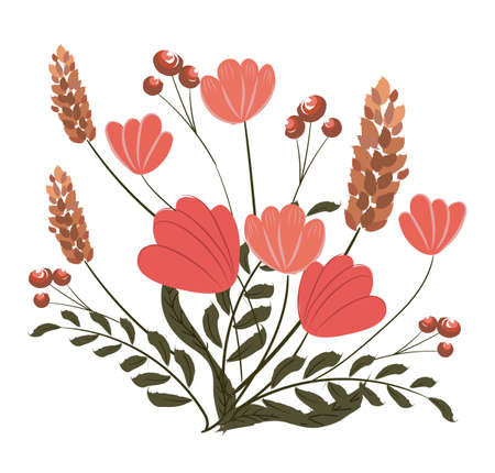 Composition of poppy, pink veronica flowers and twigs with berries