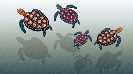 Composition of a family of sea turtles swimming in the ocean Illustration
