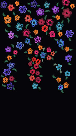 Pattern of multiple bright colored flowers on black background