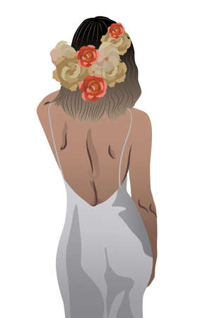 Back view of a woman in white dress and flowers braided in her hair
