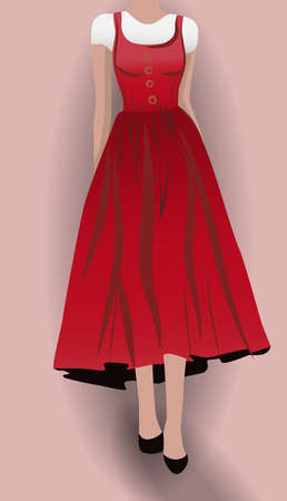 Woman in red dress, black high heels and white blouse underneath