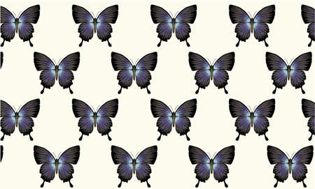 Pattern composed of blue and black butterflies. Vintage wallpaper style
