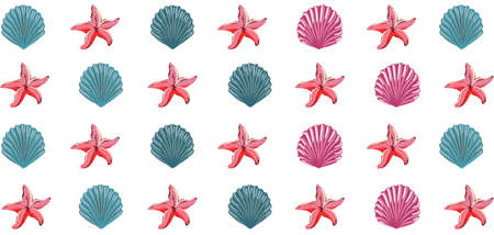 Pattern of blue and pink seashells and starfish. Sea fauna theme