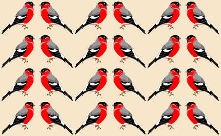 Wallpaper with red-bellied clark bird pattern. Winter birds theme Illustration