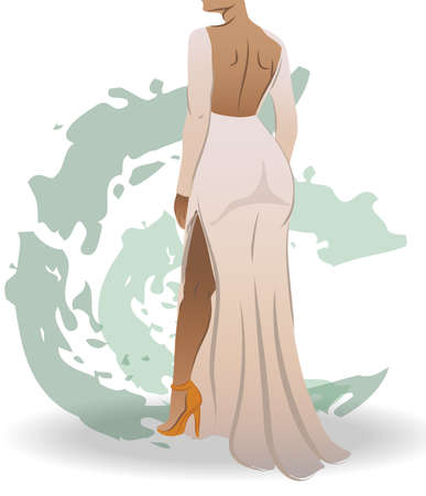 View from back of a fit woman dressed in white dress and orange high heels. Green abstract strokes