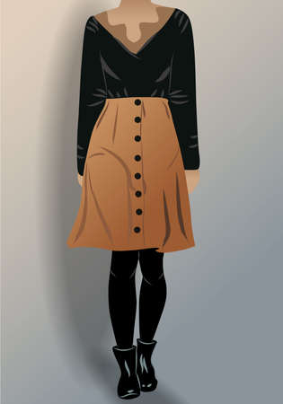 Woman dressed in black blouse, panty hose, shoes and brown skirt. Vector  イラスト・ベクター素材