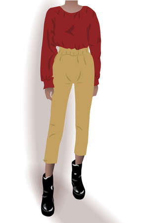 Girl dressed in black shoes, yellow pants and red blouse posing