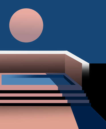 Composition of a pool on the roof top with full moon in the sky Illustration