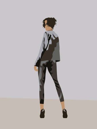 View from back of a black haired woman dressed in gray suit and black high heels looking back Vektoros illusztráció