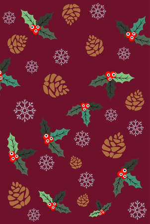 Christmas themed pattern of pine cones, holly berries and snowflakes