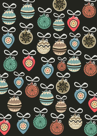 Christmas themed pattern composed of tree decorations