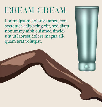 Hydrating cream for delicate skin Woman leg positioned in seductive pose. Vector Ilustração