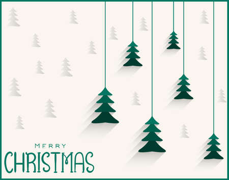Merry christmas green banner with trees in triangle shapes Vettoriali