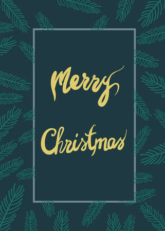 Merry christmas green greeting card with twigs and place for text