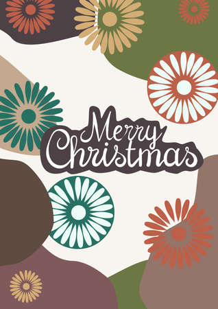 Merry christmas greeting card with flowers in holiday color palette
