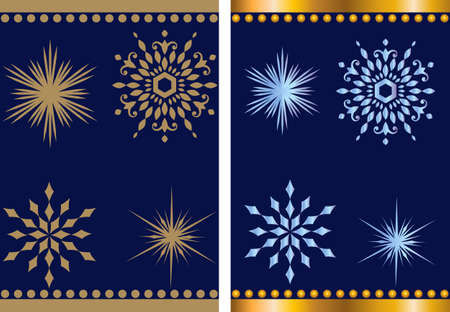 Christmas golden frame set of winter snowflakes in various shapes