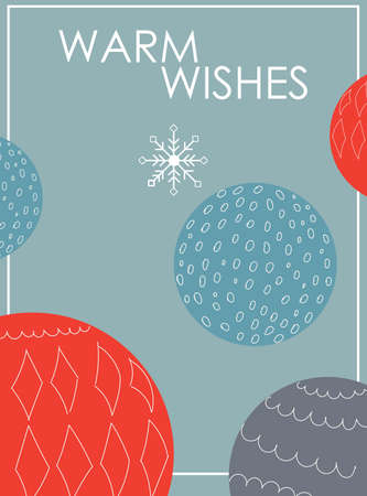 Christmas warm wishes greeting card with blue and red baubles and snowflakes