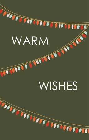 Christmas warm wishes greeting card with colorful light bulb garland