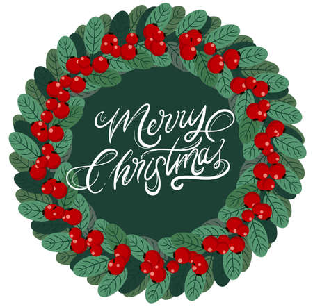 Merry christmas wreath with red berries and green leaves Vettoriali