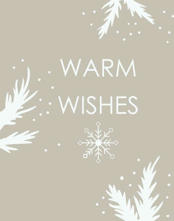 Christmas card with snowflakes and twigs. Beige background with place for text Vettoriali