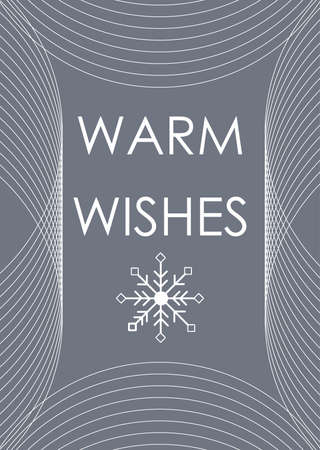 Christmas warm wishes abstract greeting card with curved lines and snowflake. White color