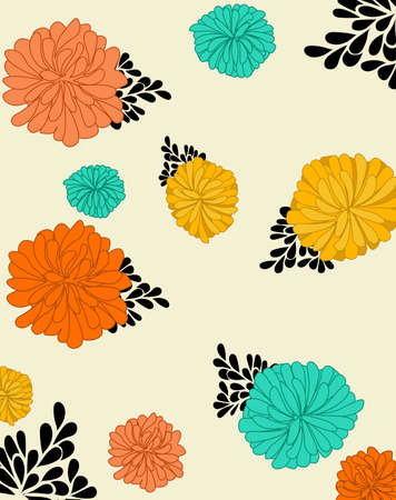 Colorful dahlia flowers with oriental ornaments. Red, orange and turquoise color Illustration