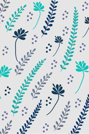 Floral pattern of twigs and leaves in turquoise and blue color Illustration