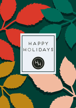 Happy holidays colorful greeting card with green, red, yellow and pink leaves. Place for text