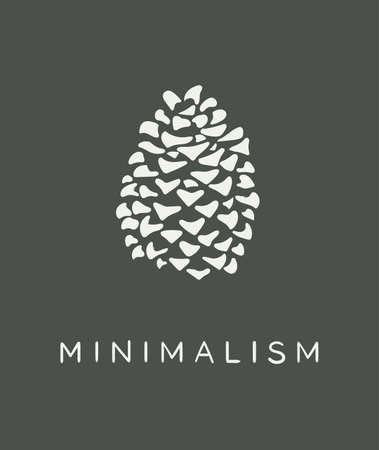 Minimalist pine cone in white color with gray background