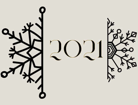 Christmas greeting card with halved snowflake and year 2021 text Illustration