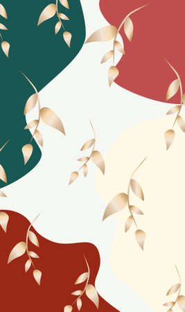 Golden leaves on colorful abstract background in green, beige and red color Illustration