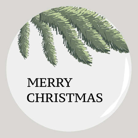 Merry christmas bauble with realistic green leaves of conifer tree Illustration