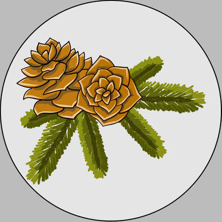 Conifer cone with green leaves in round circle. Christmas decorations Illustration