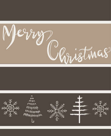 Merry christmas beige greeting card with various hand drawn winter elements. Trees, snowflakes
