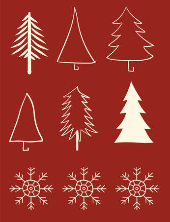 Various snowflakes and christmas tree shapes on red background