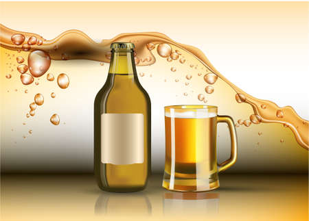 Beer bottle and glass Vector realistic. Product placement. Splash backgrounds