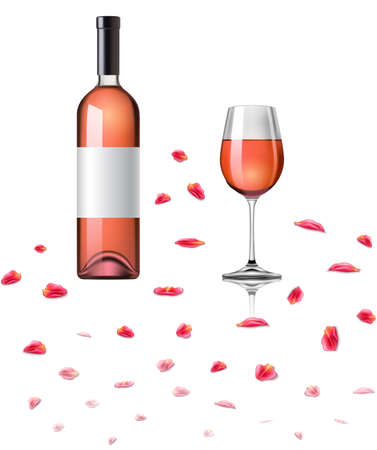 Rose Wine bottle and glass vector realistic.
