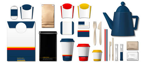 Coffee or tea packaging products mock up. Cups, container, sugar paper bags Archivio Fotografico