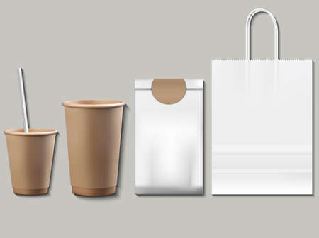 Coffee or tea packaging products mock up. Cups, container, paper bags Vector realistic 3ds Vettoriali