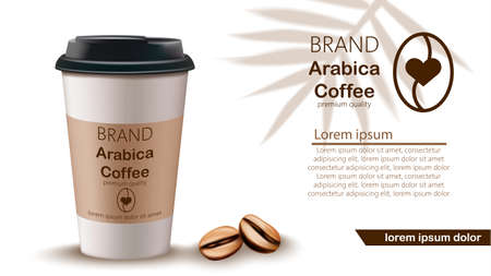 Coffee cup and beans vector realistic mock up. Product placement label designs 向量圖像