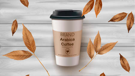Coffee cup and leaves vector realistic mock up. Product placement label design. Wooden backgrounds