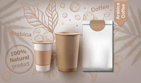 Coffee cups and pack set vector realistic. Natural leaves and beans background. Label design product placement mock ups 向量圖像